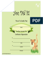You Did It Certificate Stuffed Animal
