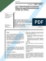 NBR 13805 (Abr 1997) - Água - Determinação de potássio - Método da espectrofotometria por emissão em chama
