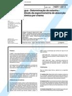 NBR 13813 (Abr 1997) - Água - Determinação de estanho - Método da espectrometria de absorção atômica por chama