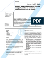 NBR 13853 (Maio 1997) - Coletores para resíduos de serviços de saúde perfurantes ou cortantes - Requisitos e métodos de ensaio