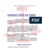 Dissolution of firm project report