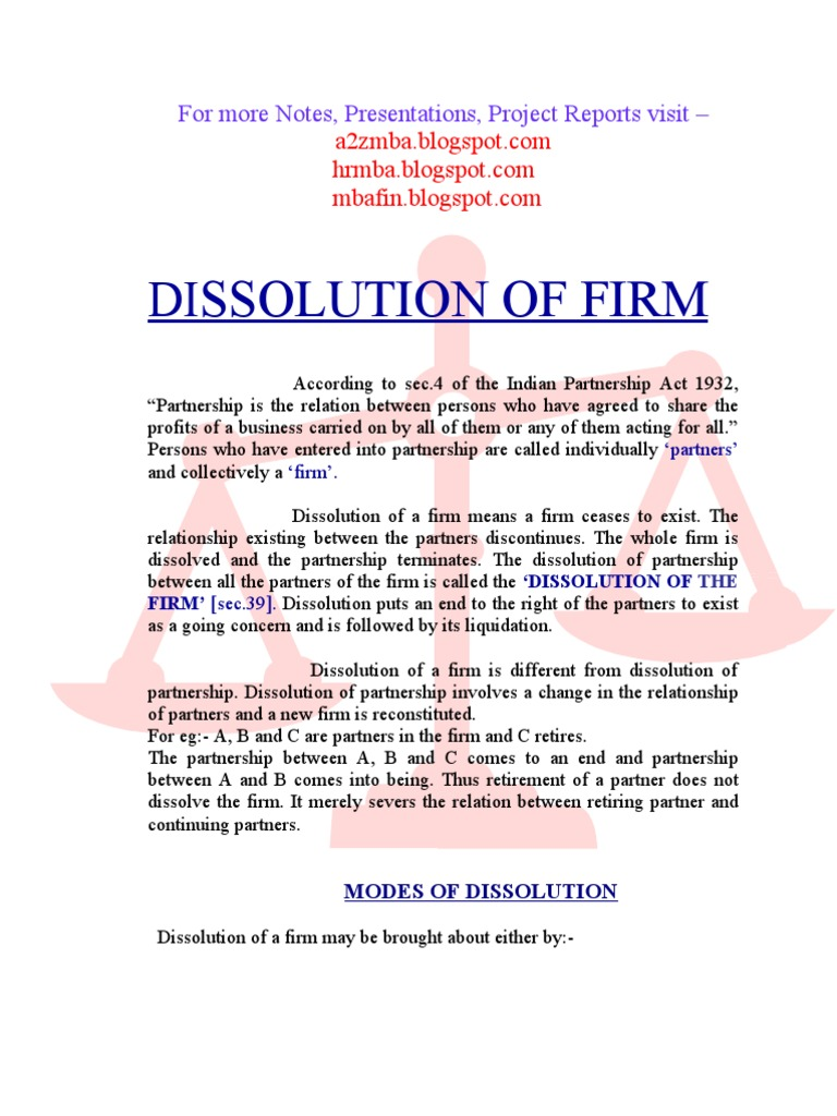 Dissolution of firm project report Partnership – Partnership Dissolution Agreement