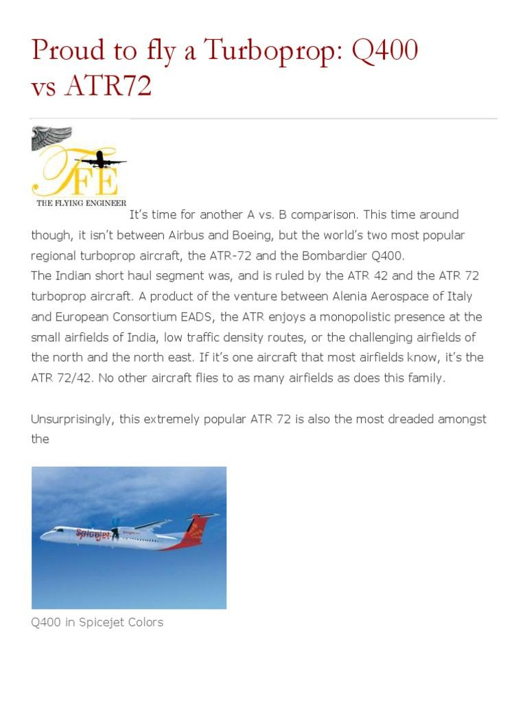 atr 72 vs q400 landing gear aircraft rh scribd com