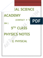 Complete Notes on 9th Physics by Asif Rasheed