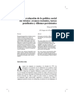 La Evaluacion de La Politica Social en Mexico