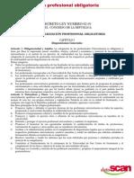 LEY DE COLEGIACIÓN PROFESIONAL OBLIGATORIA