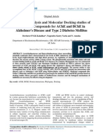 Functional Analysis and Molecular Docking studies of Medicinal Compounds for AChE and BChE in Alzheimer's Disease and Type 2 Diabetes Mellitus