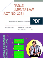Report on Negotiable Instruments Law