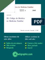 III. Codigo de Bioetica en Medicina Familiar