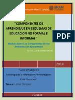 Componentes de aprendizaje en esquemas de educación no formal e informal.