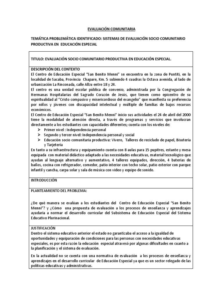 MODELO DE EVALUACIÓN COMUNITARIA