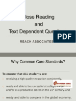 close reading and text dependent questions