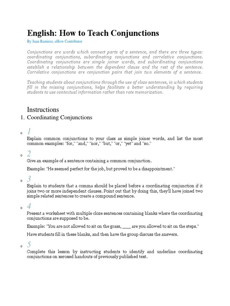 Teaching Conjunctionsdocx Sentence Linguistics – Subordinating Conjunctions Worksheet