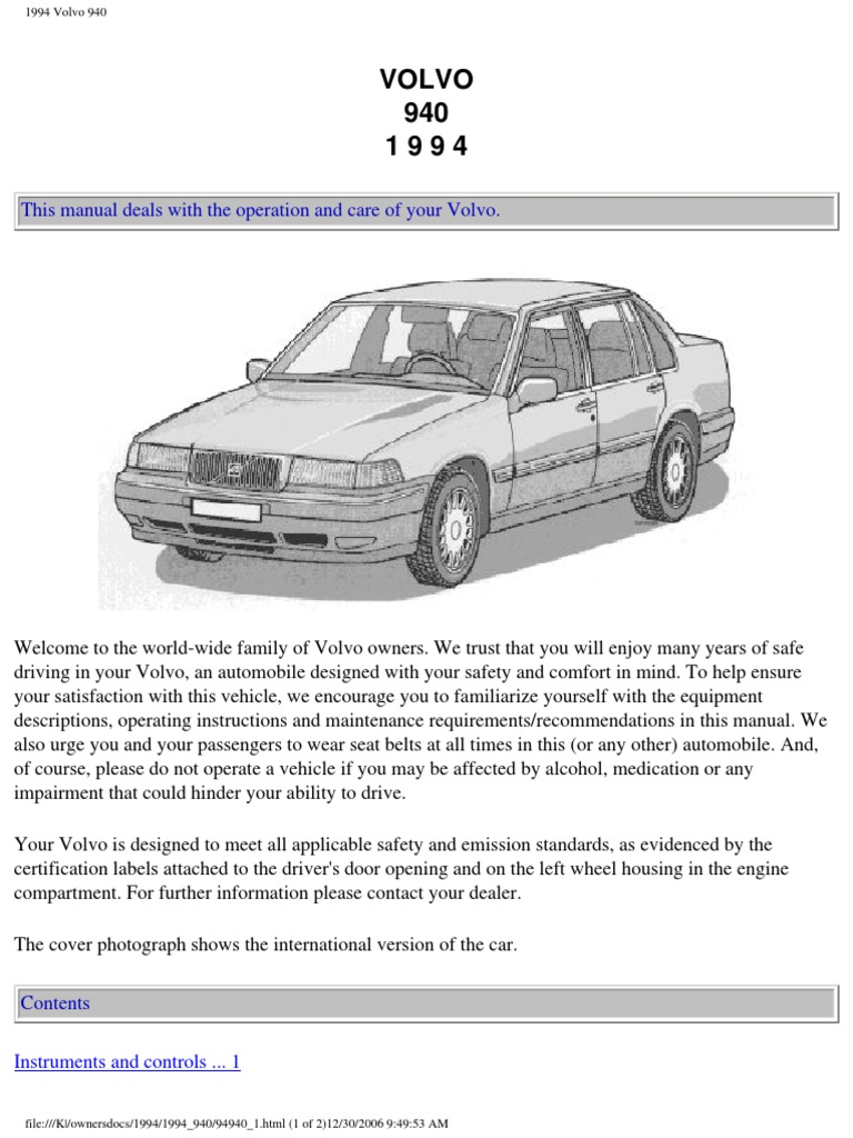 volvo 940 1994 owners manual compact cassette headlamp rh scribd com Toyota Camry Manual Toyota Tercel Manual