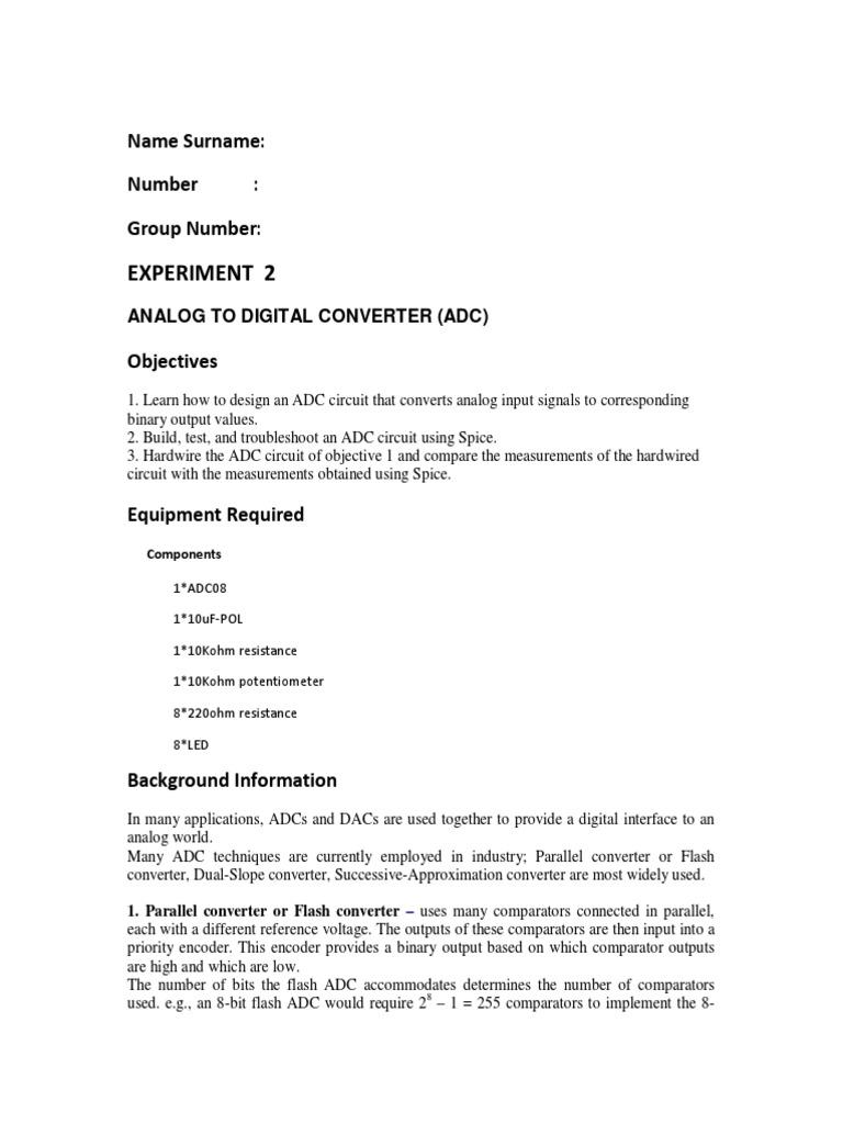 Lab 2pdf Analog To Digital Converter Analogue Electronics Circuit Design