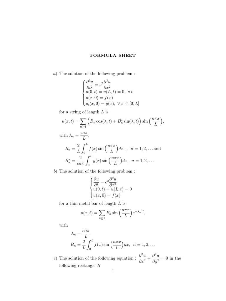 partial differential equations formula sheet