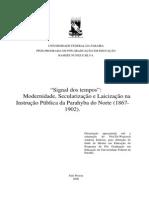 'Signal dos tempos' – Modernidade, Secularização e Laicização na Instrução Pública da Parahyba do Norte (1867 – 1902)