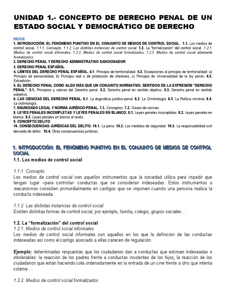 Unidad 1.- Concepto de Derecho Penal de Un Estado Social y ...