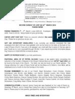 16th March 2014 Parish Bulletin