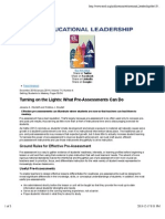turning on the lights- what pre-assessments can do