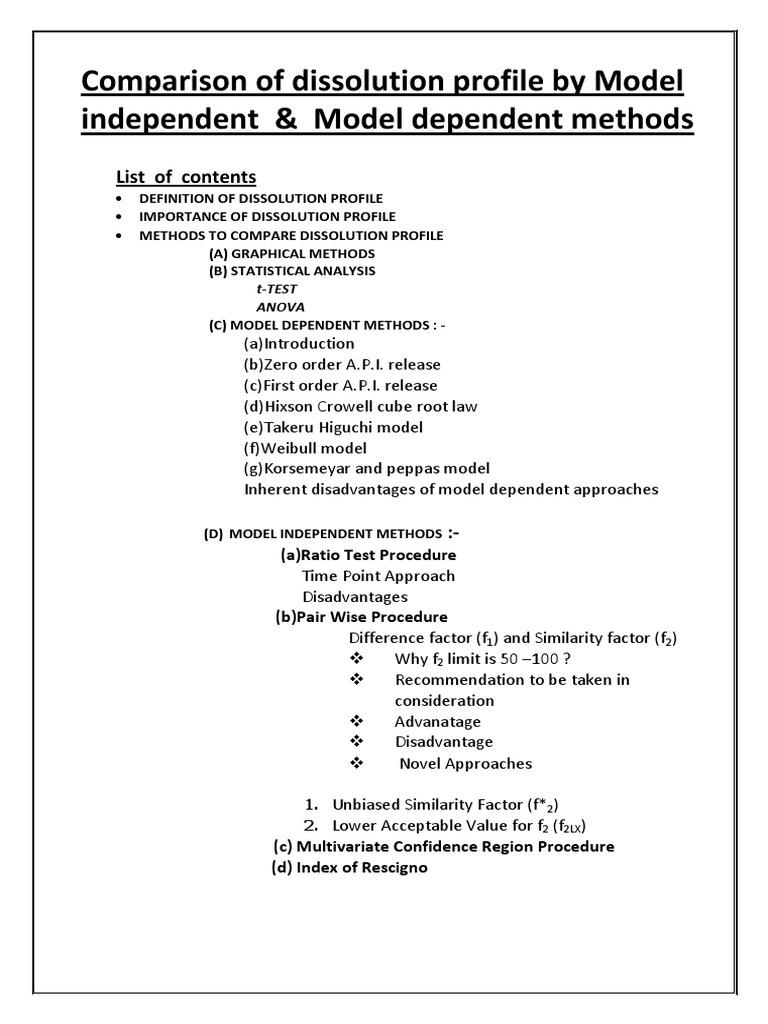 Comparison Of Dissolution Profile | Studentu0027s T Test | Analysis Of Variance
