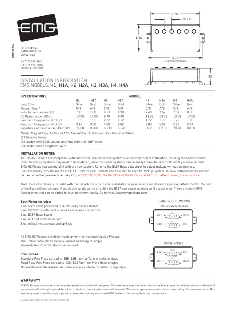 Hz Sl Humbucker 0230 0221ra Electrical Connector Manufactured Goods Emg Single Coil Pickups Wiring Diagram