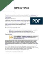 Midterm Topics