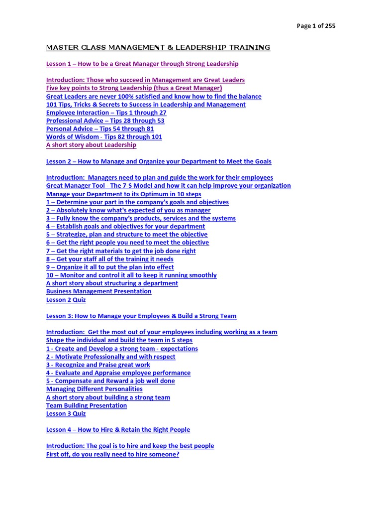 Master Class Management & Leadership   Leadership & Mentoring   Leadership