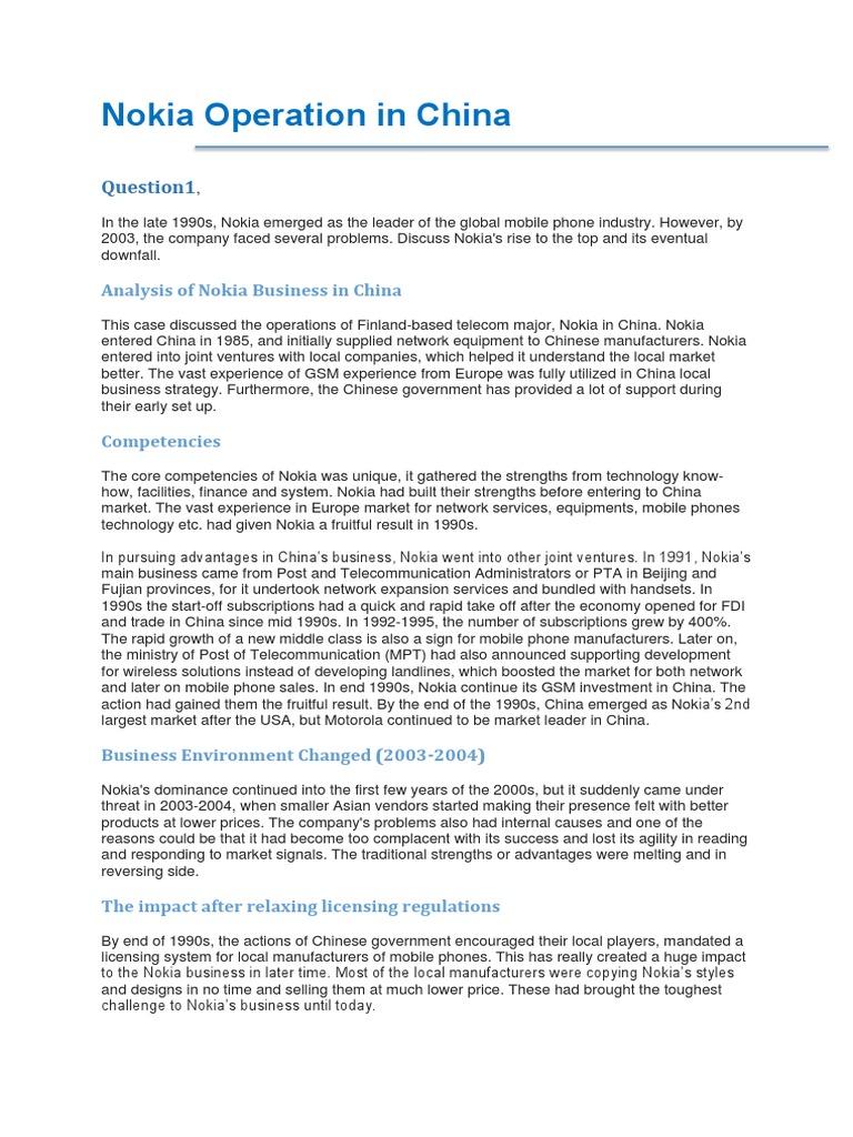 Nokia Operation in China | Nokia | Strategic Management