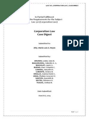Corporation Law Case Digest | Securities (Finance) | Damages
