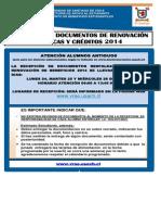 Recepción de Documentación Socio-económica – Renovación de Beneficios 2014