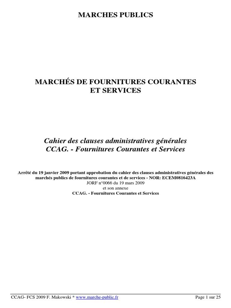 ccag fournitures courantes et services