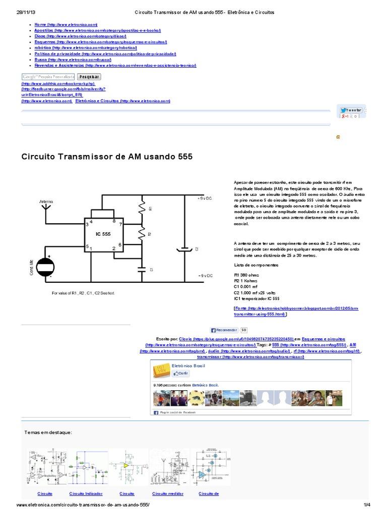 Circuito Eletronica : Circuito transmissor de am usando 555 eletrônica e circuitos