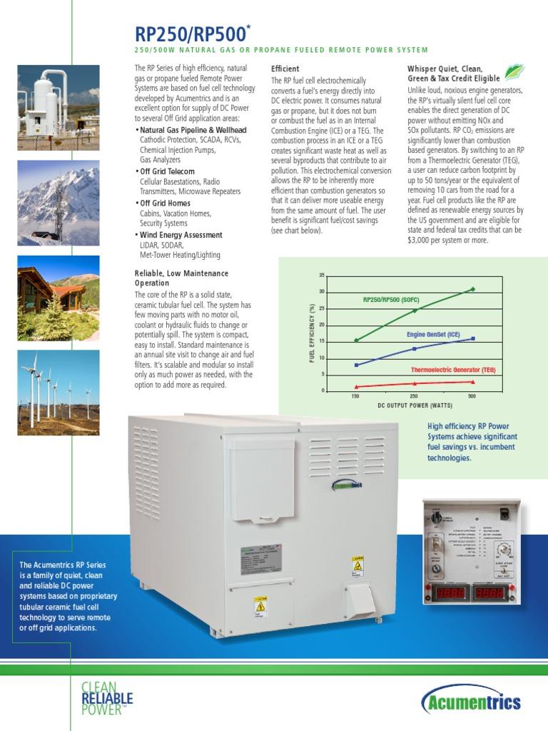 Www acumentrics com Acumentrics RP250 500 Fuel Cell Power System