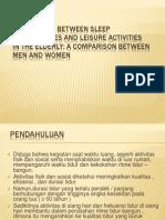 Association Between Sleep Disturbances and Leisure Activities