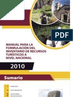 Manual Para La Formulacion Del Inventario de Recursos Turisticos a Nivel Nacional