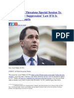 Scott Walker Threatens Special Session to Restore Voter Suppression