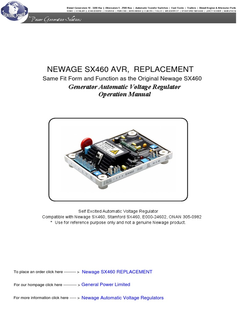 Newage sx460 automatic voltage regulator electric generator voltage asfbconference2016 Choice Image