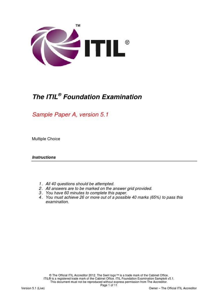 Itil Foundation Sample Exam A V5 1 1 Itil Business