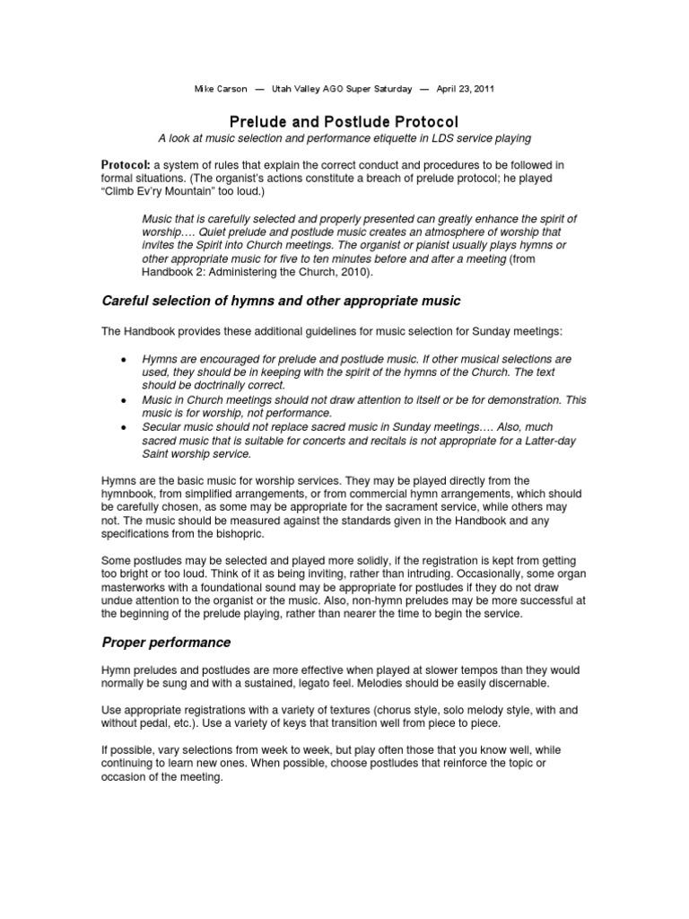 Mike Carson Prelude and Postlude Protocol | Etiquette | The