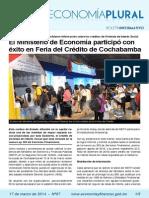 El Ministerio de Economía participó con éxito en Feria del Crédito de Cochabamba