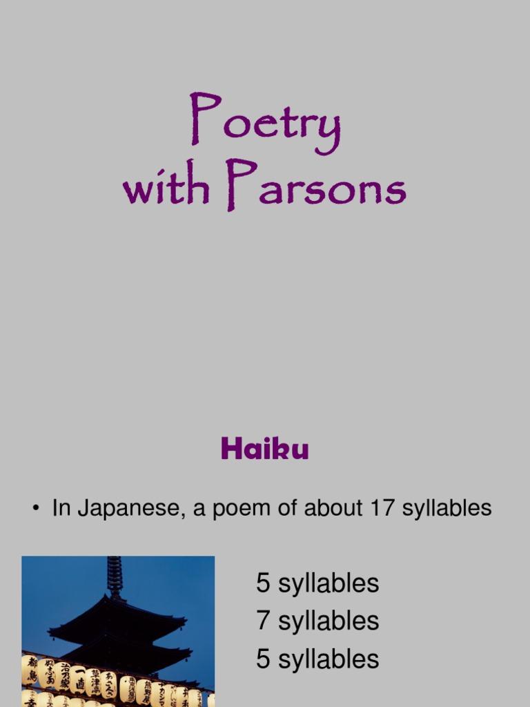 parsonspoetry haiku limerick poetry