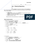 Notes - Chemical Reactions - Teacher