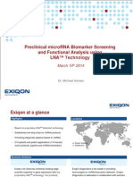 Preclinical MicroRNA Biomarker Screening and Functional Analysis 2014