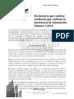 VERSIÓN PÚBLICA ACUERDO DE INEXISTENCIA 01-2014
