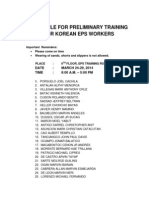 List of EPS-TOPIK Applicants for preliminary training on  March 24-29 2014