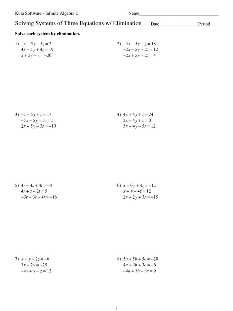 worksheet Solving Systems Of Equations By Elimination Worksheet Answers systems of three equations elimination algebra