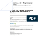 Rfp 143 154 Dangers Incertitudes Et Incompletude de La Logique de La Competence en Education