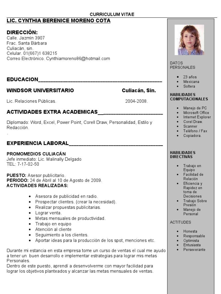 Curriculum Vitae Cynthia Moreno