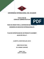 """""""PLAN DE EXPORTACION DE UN PRODUCTO GOURMET JALEA DE UVILLA""""."""